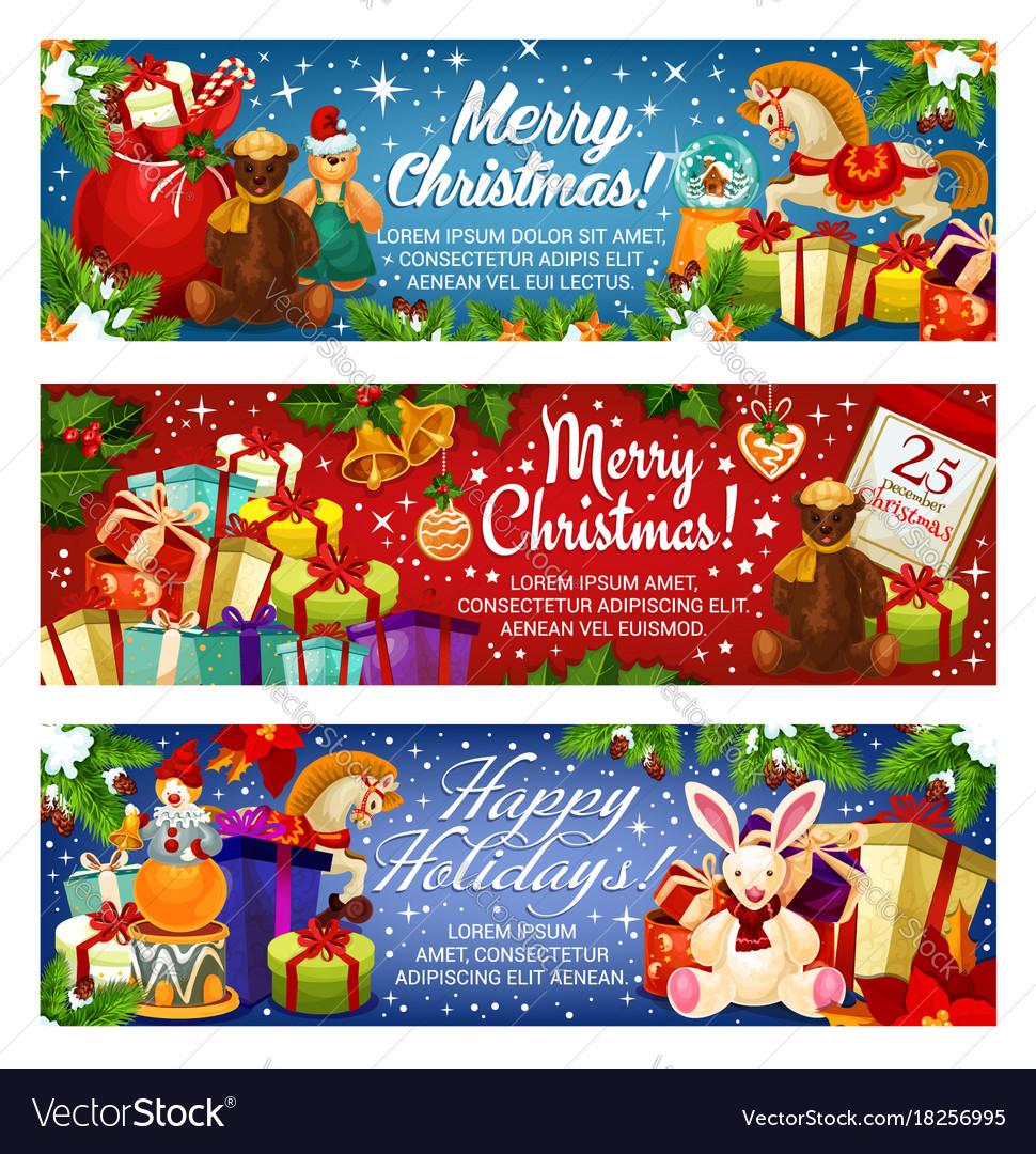 Merry christmas holiday santa gifts banners