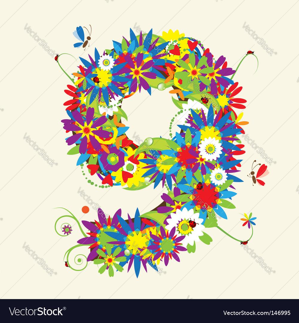 Number 9 floral design