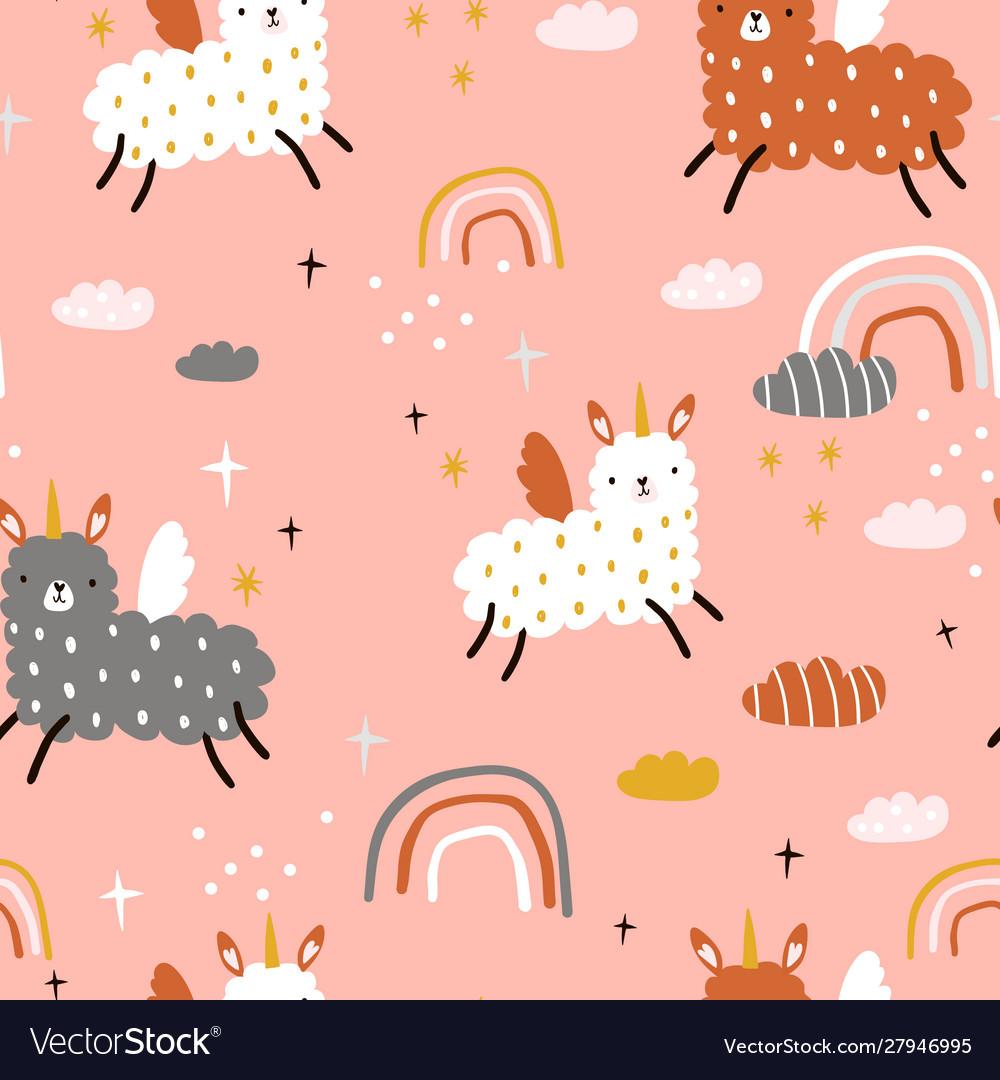 Seamless childish pattern with funny llama