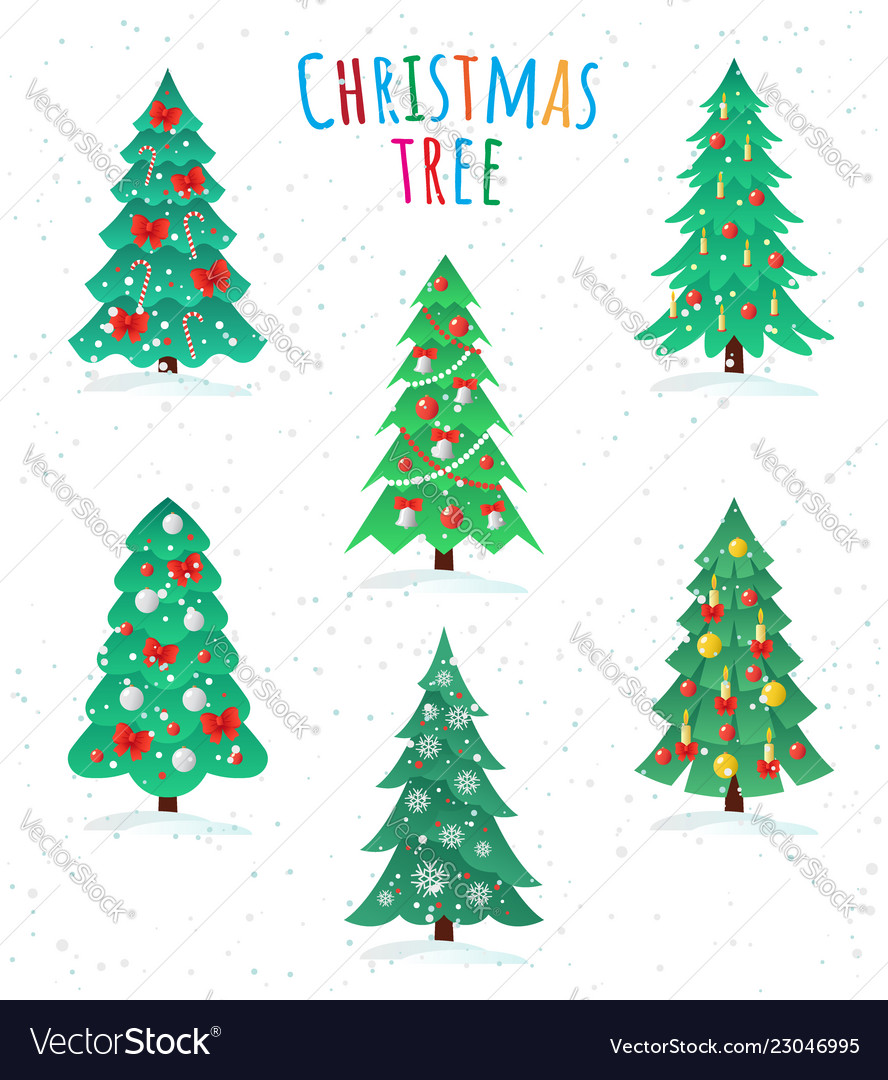 Set of different christmas trees icon happy new