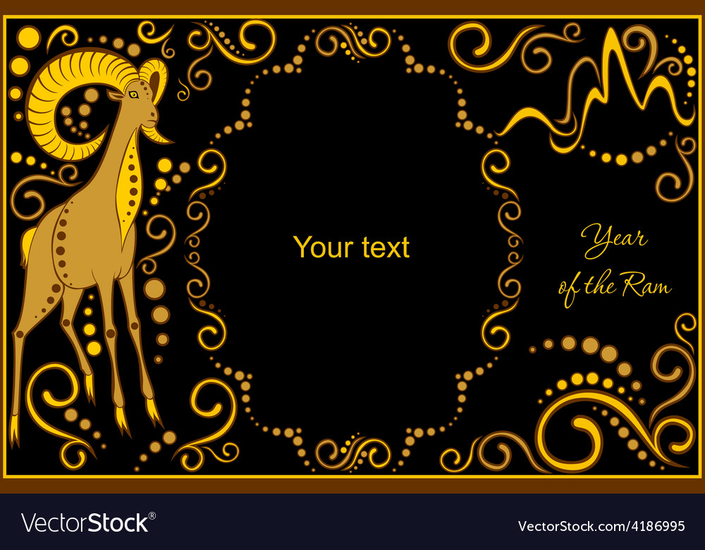 Template with sign chinese horoscope ram