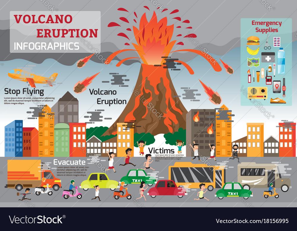 Volcano eruption infographics elements natural