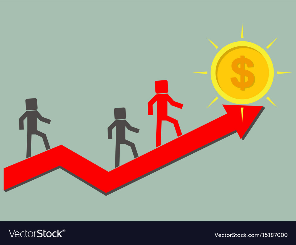Businesses or competitors climb on up arrow to vector image