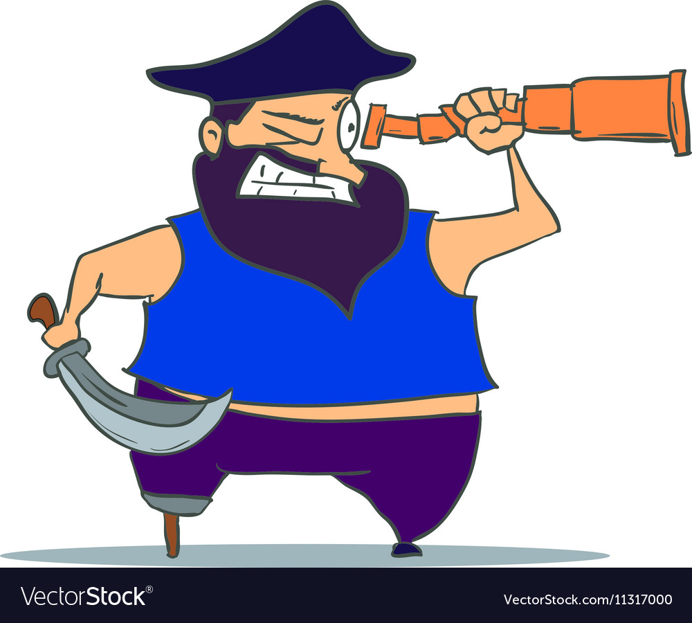 Cartoon one-legged Pirate with Spyglass
