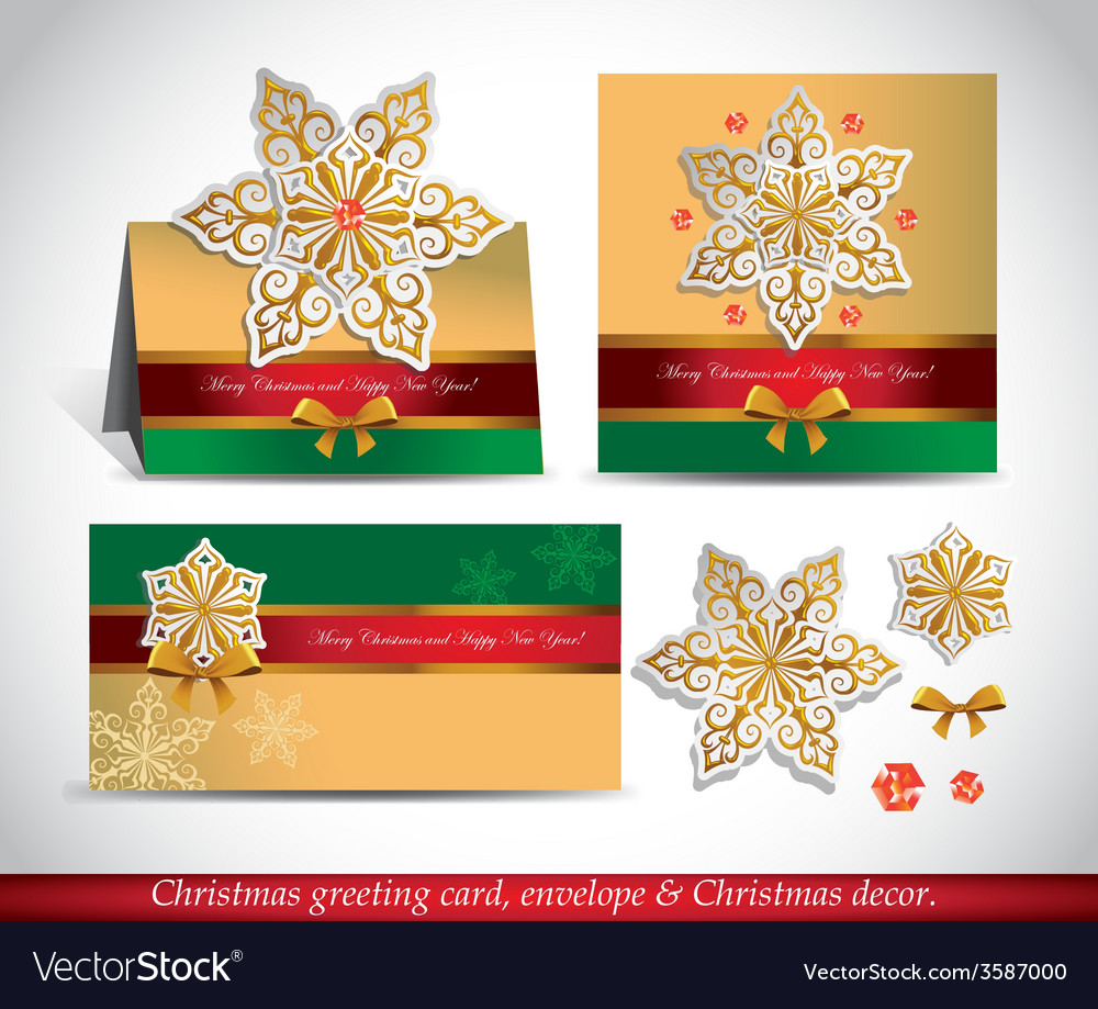 Greeting cards with golden ornate snowflake vector image m4hsunfo