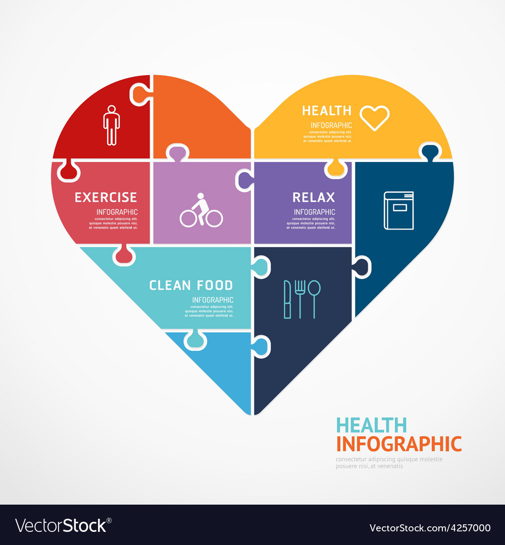Infographic Template With Heart Shape Jigsaw Vector Image