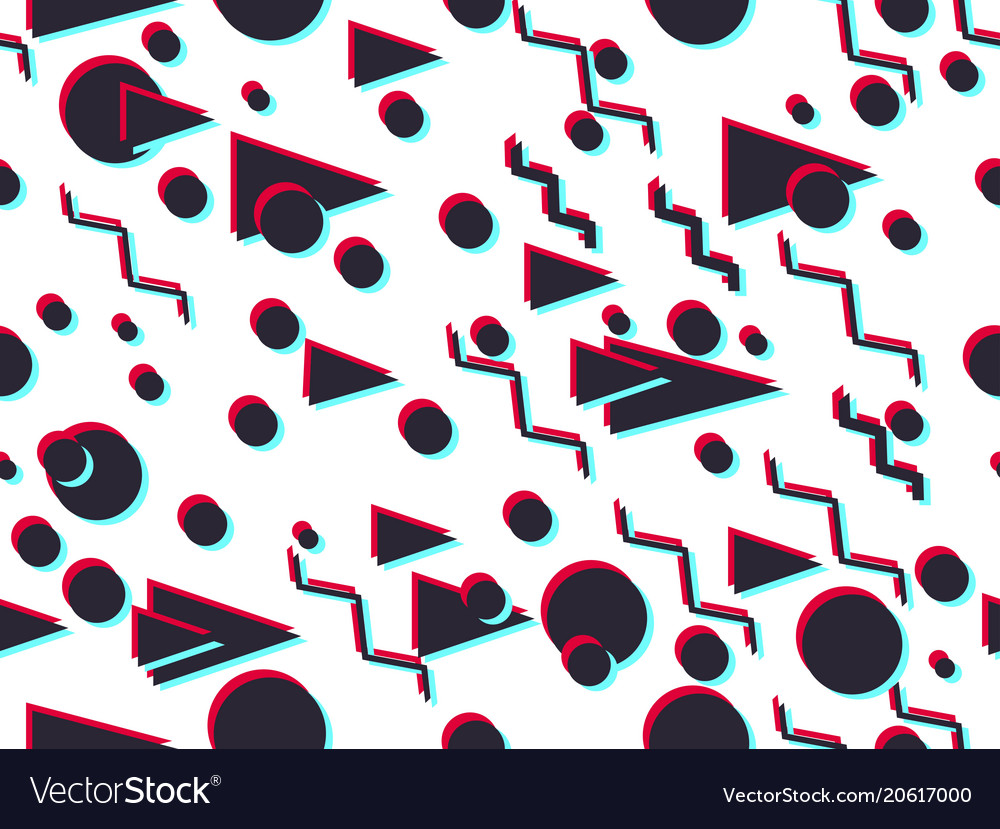 Memphis seamless pattern with glitch effect vector image