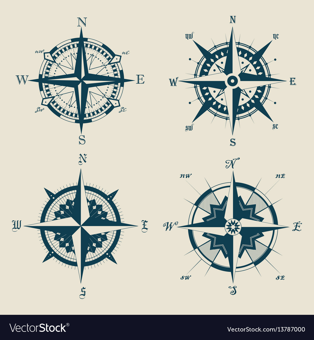 Set of old or retro compass or wind rose