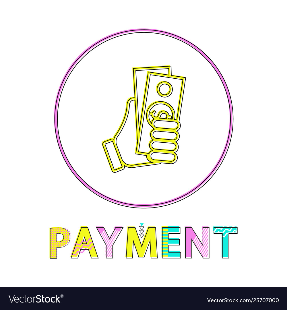 Sketch hand with dollar payment lineout style icon