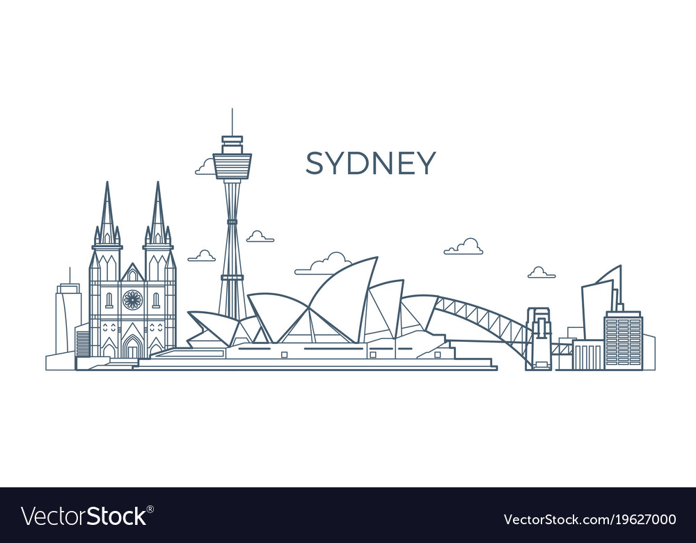 Sydney city line skyline with buildings and