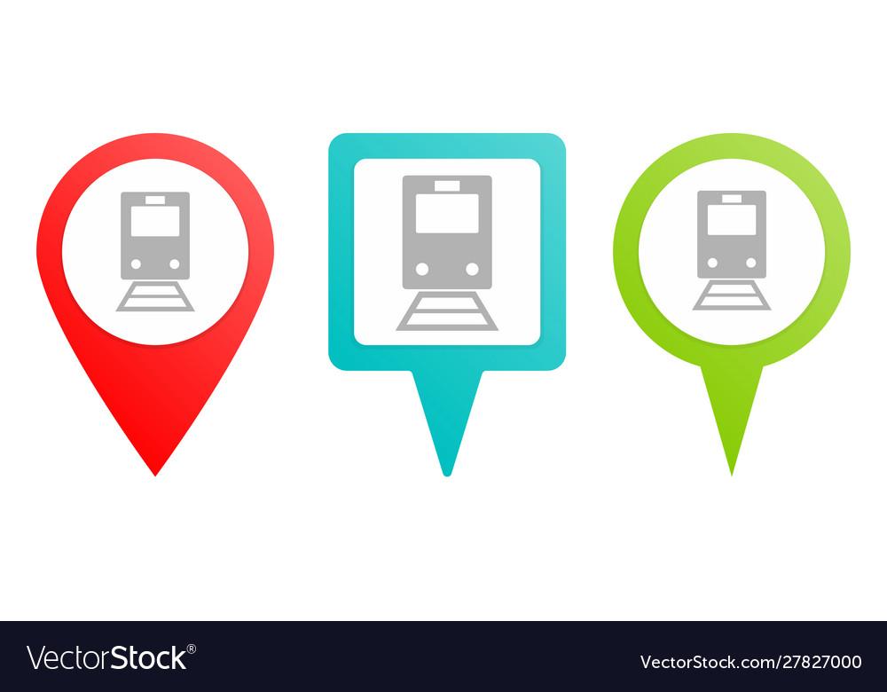 Train pin icon multicolor pin icon