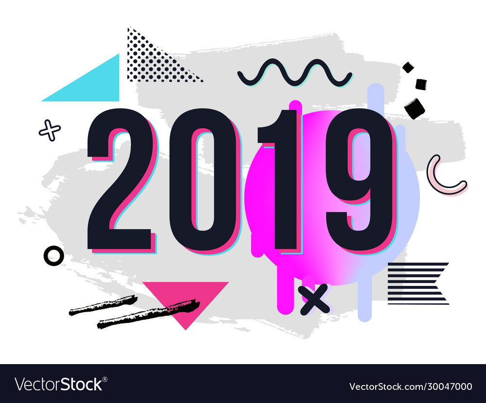 Trendy new year 2019 greeting card with chaotic