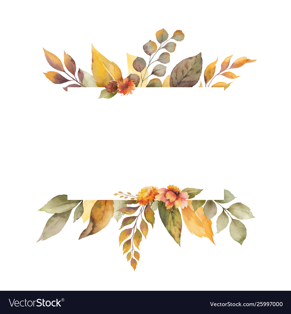 Watercolor autumn banner with leaves