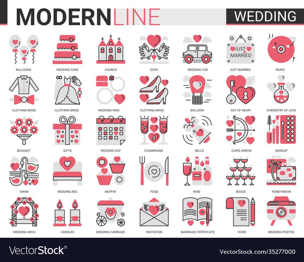 Wedding complex red black flat line icon