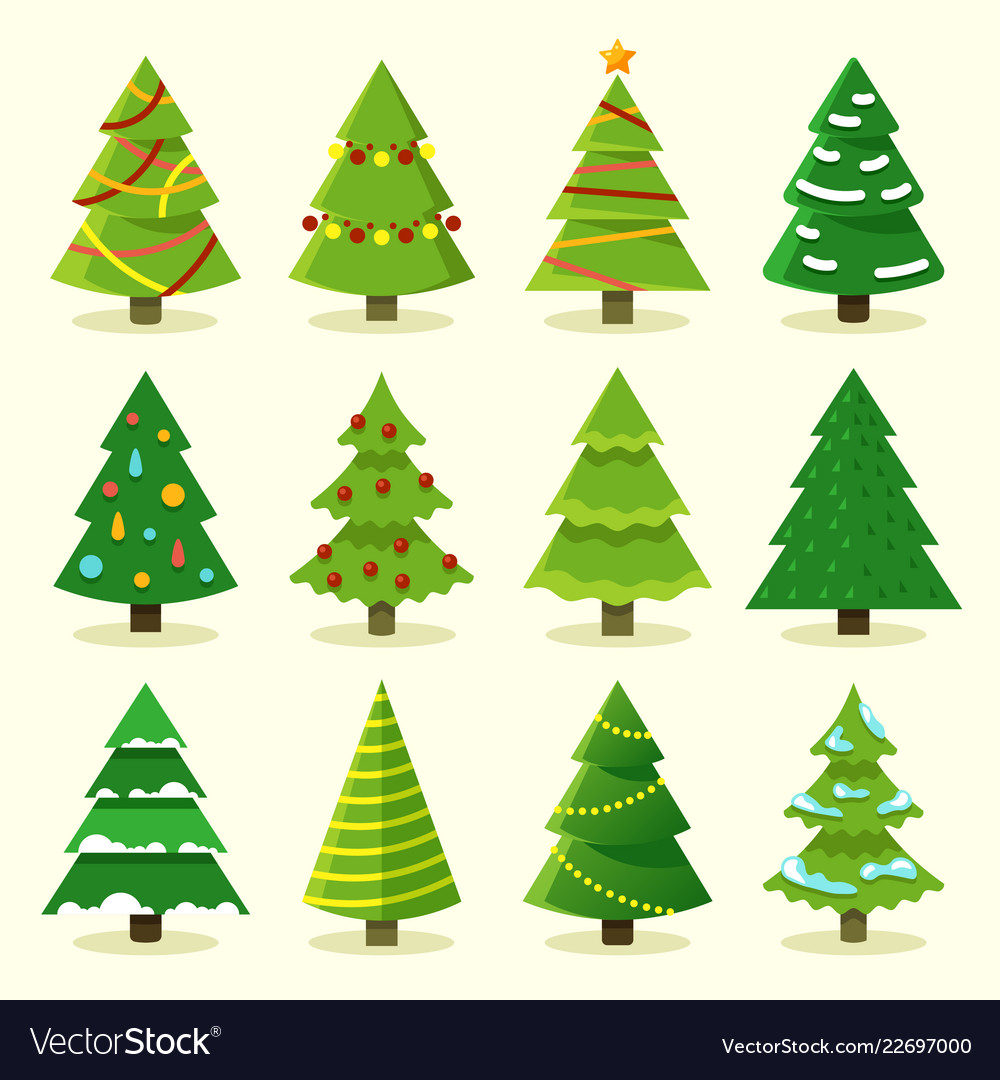 winter colorful cartoon christmas tree set vector image vectorstock