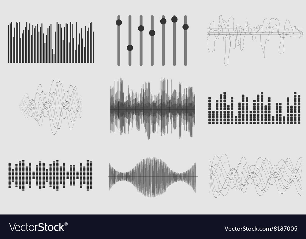 Black sound music waves on white background Audio