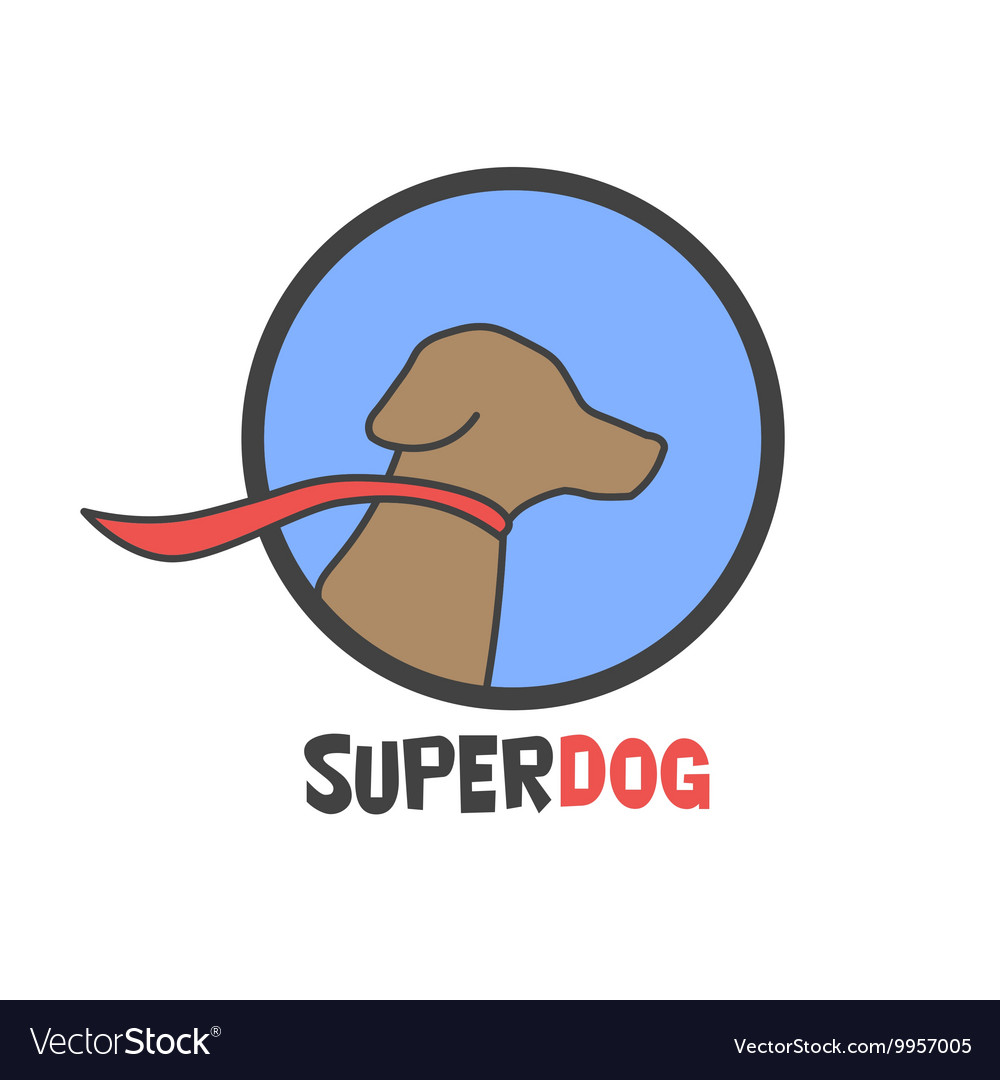Blue super dog with a cape - logo vector image