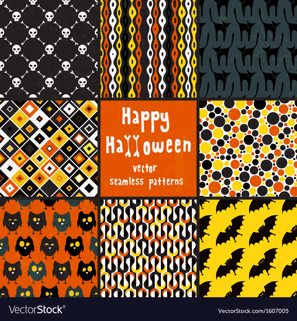 Collection of halloween seamless patterns