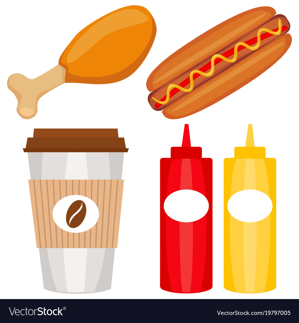 Colorful fast food icon set poster