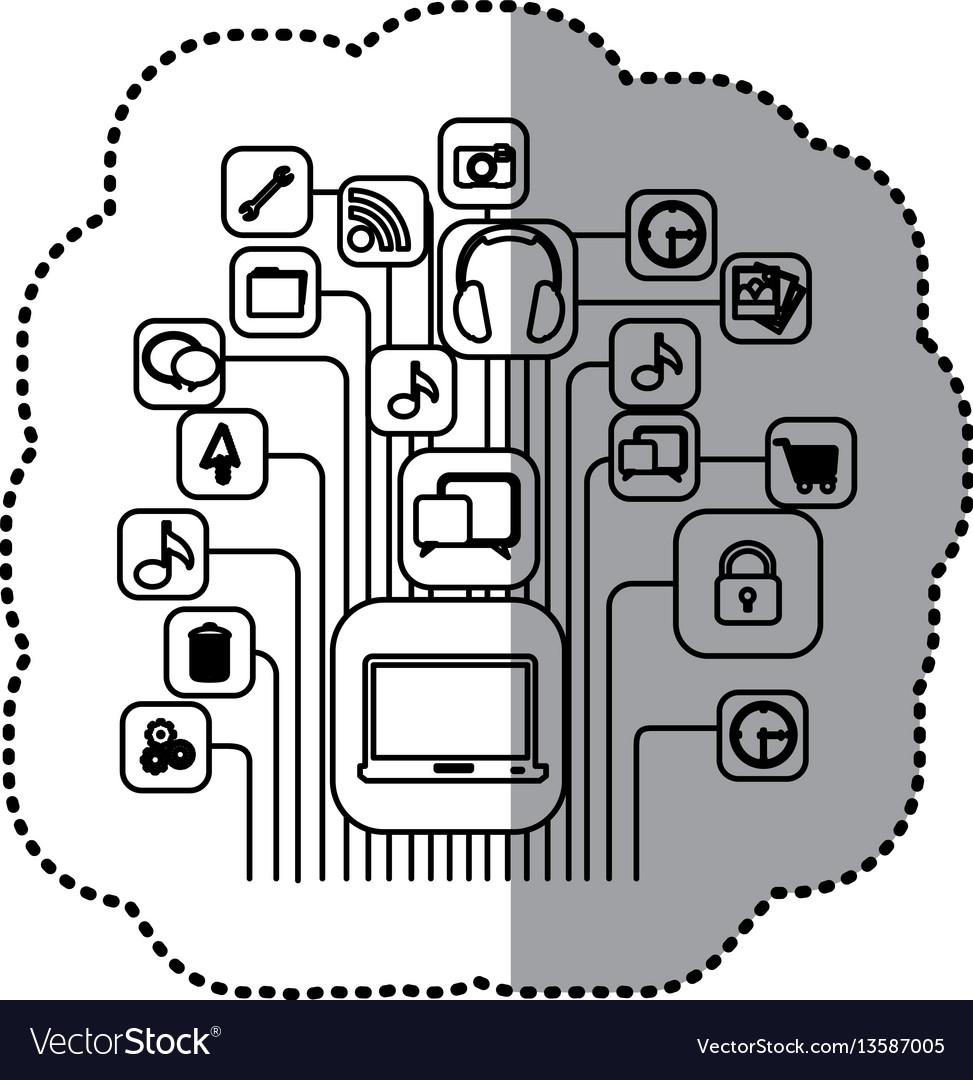 Contour computer icons connections