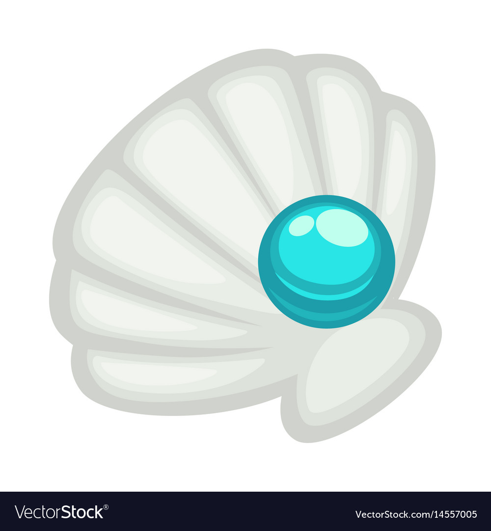 exquisite shell with blue shine pearl isolated on vector image