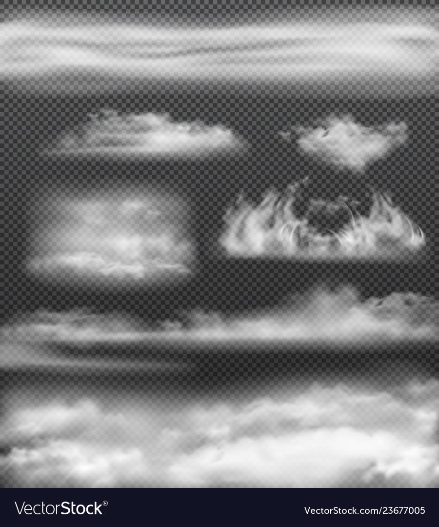 Fog realistic icon set