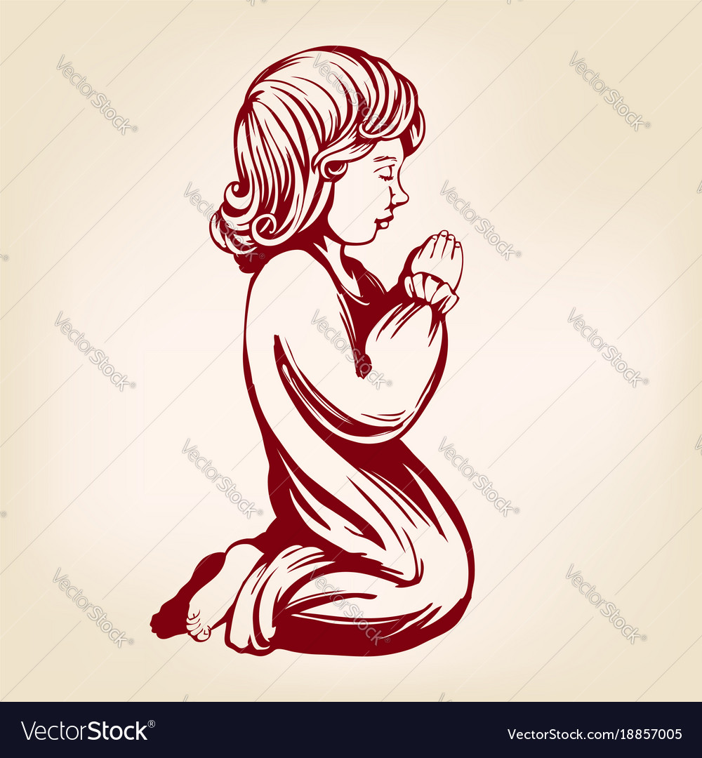 Girl child praying on his knees religious symbol