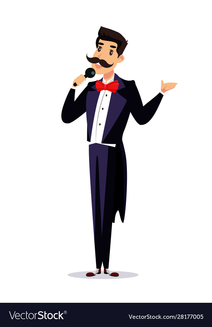 Happy showman in tailcoat announcer on stage