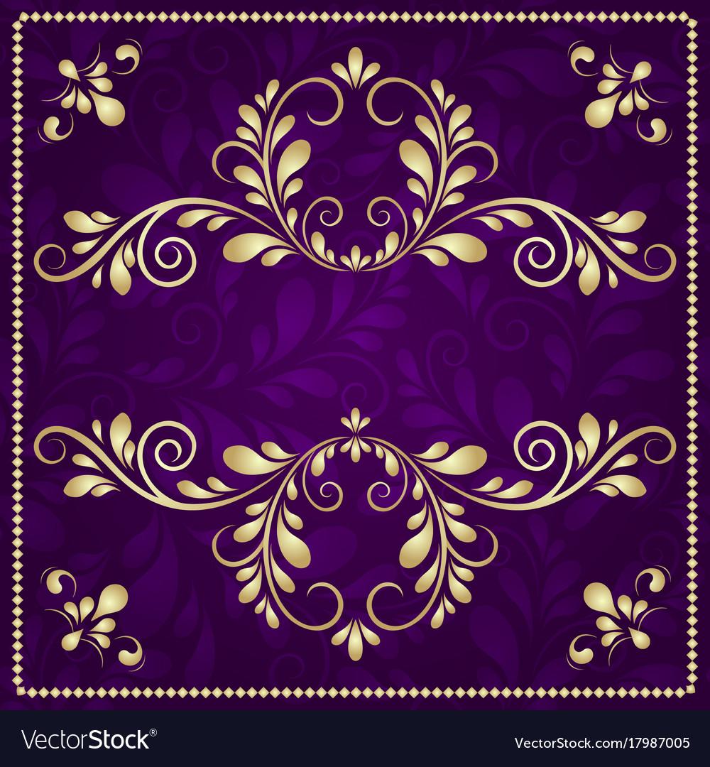 Luxury gold pattern frame on purple background