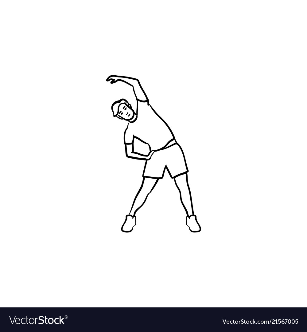 Man exercising hand drawn outline doodle icon