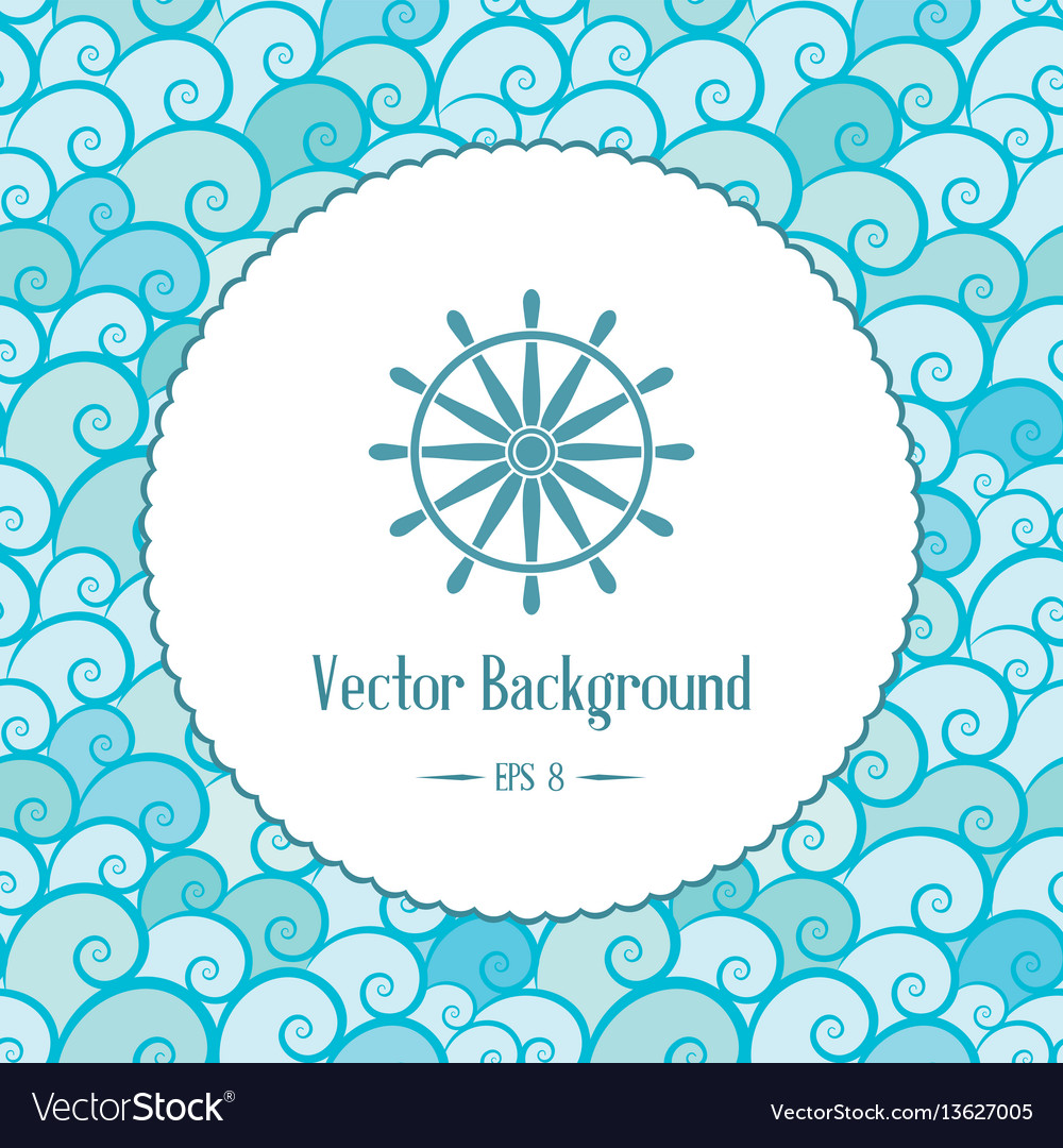 Nautical background with emblem and waves