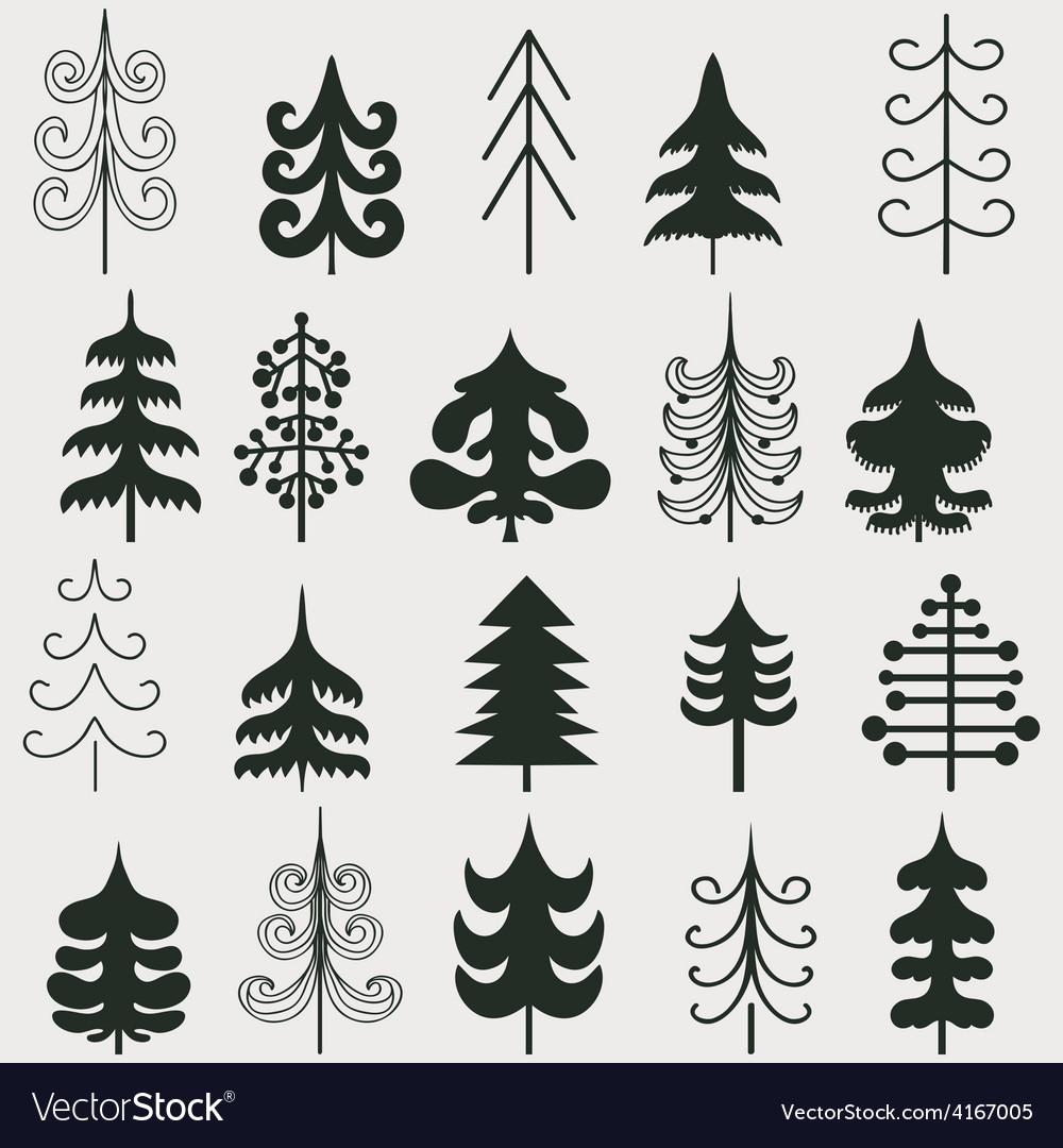 Set of christmas black trees isolated on white