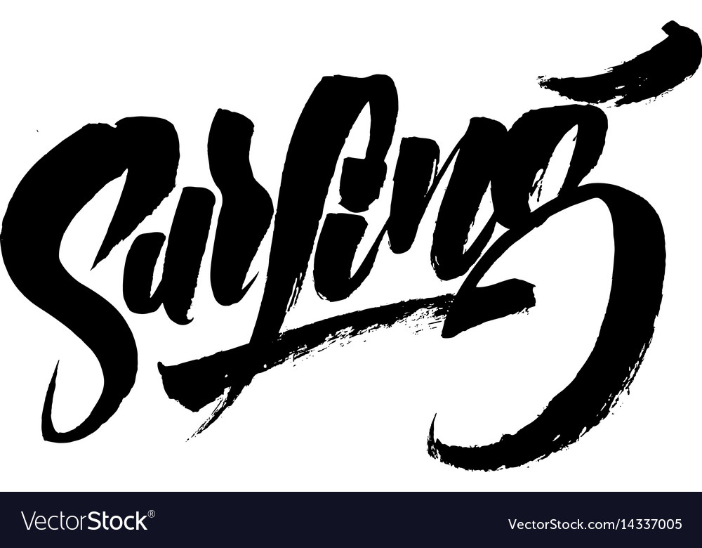 Surfing modern calligraphy hand lettering for
