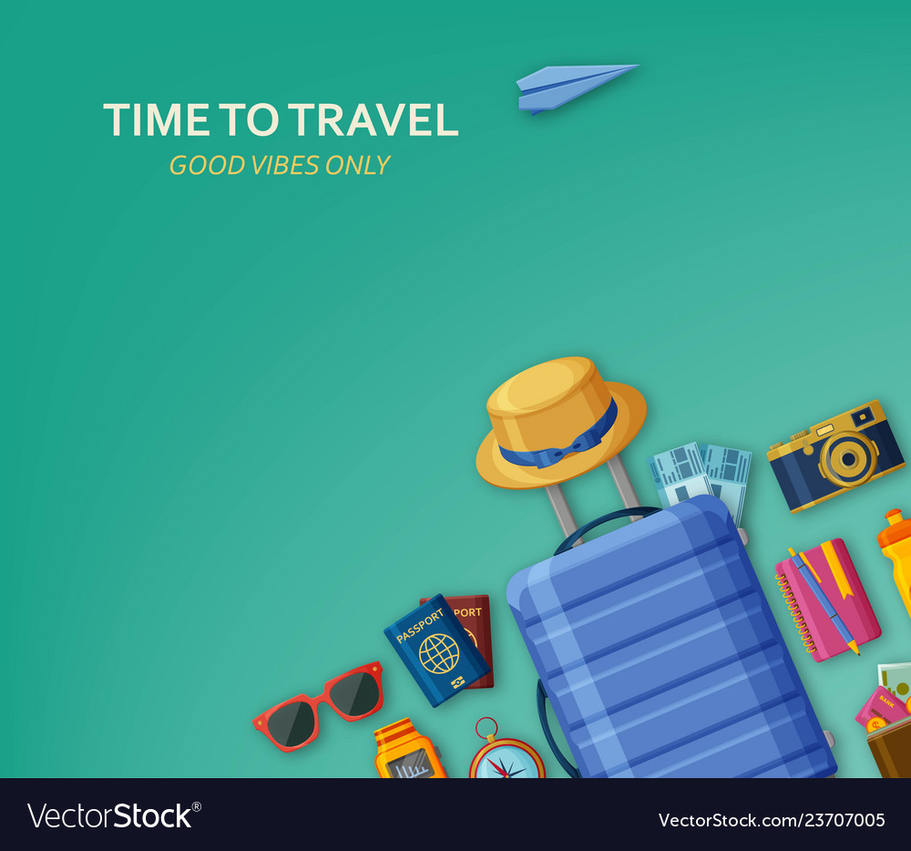 Travel concept with suitcase sunglasses hat