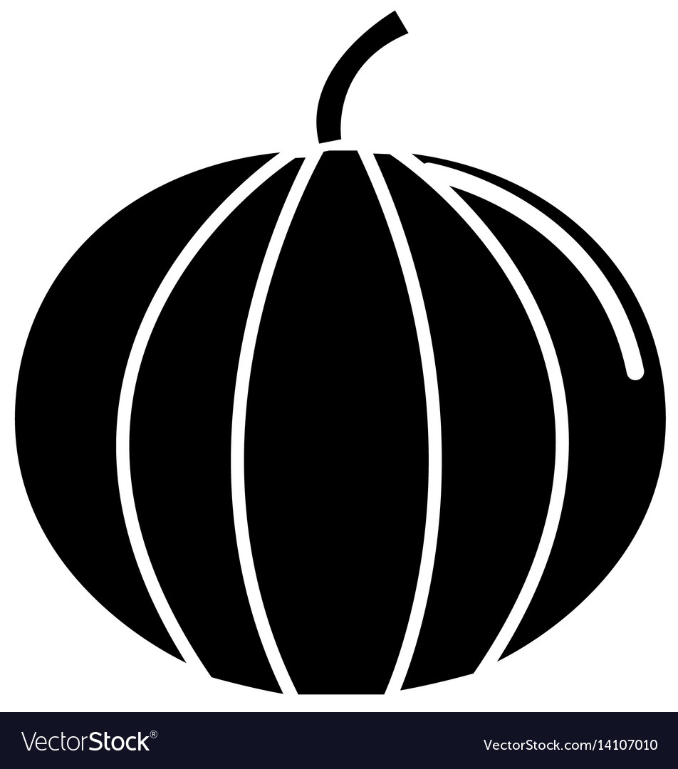 Black contour health pumpkin veetable icon