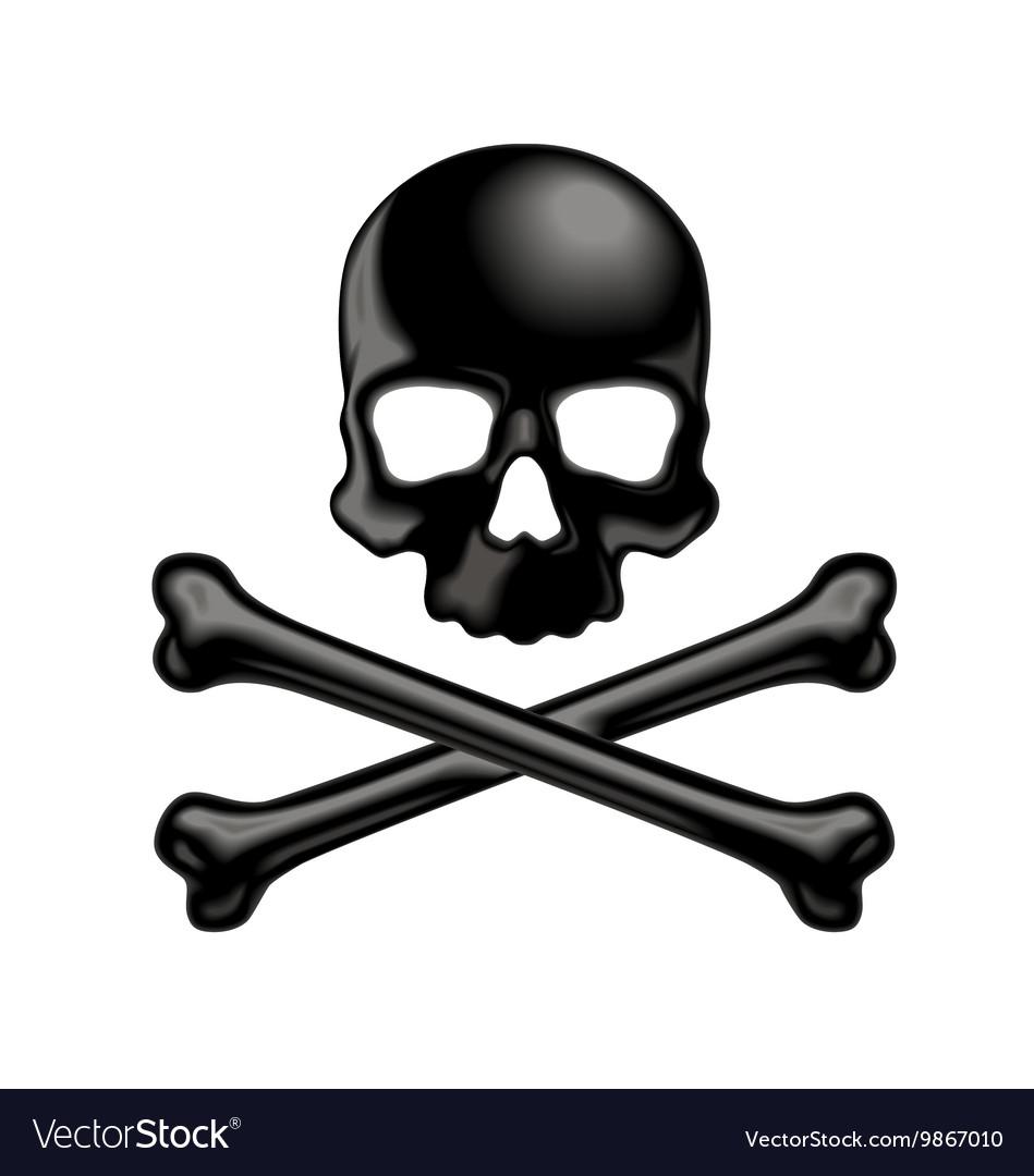 Black shaded skull and crossbones 3d icon