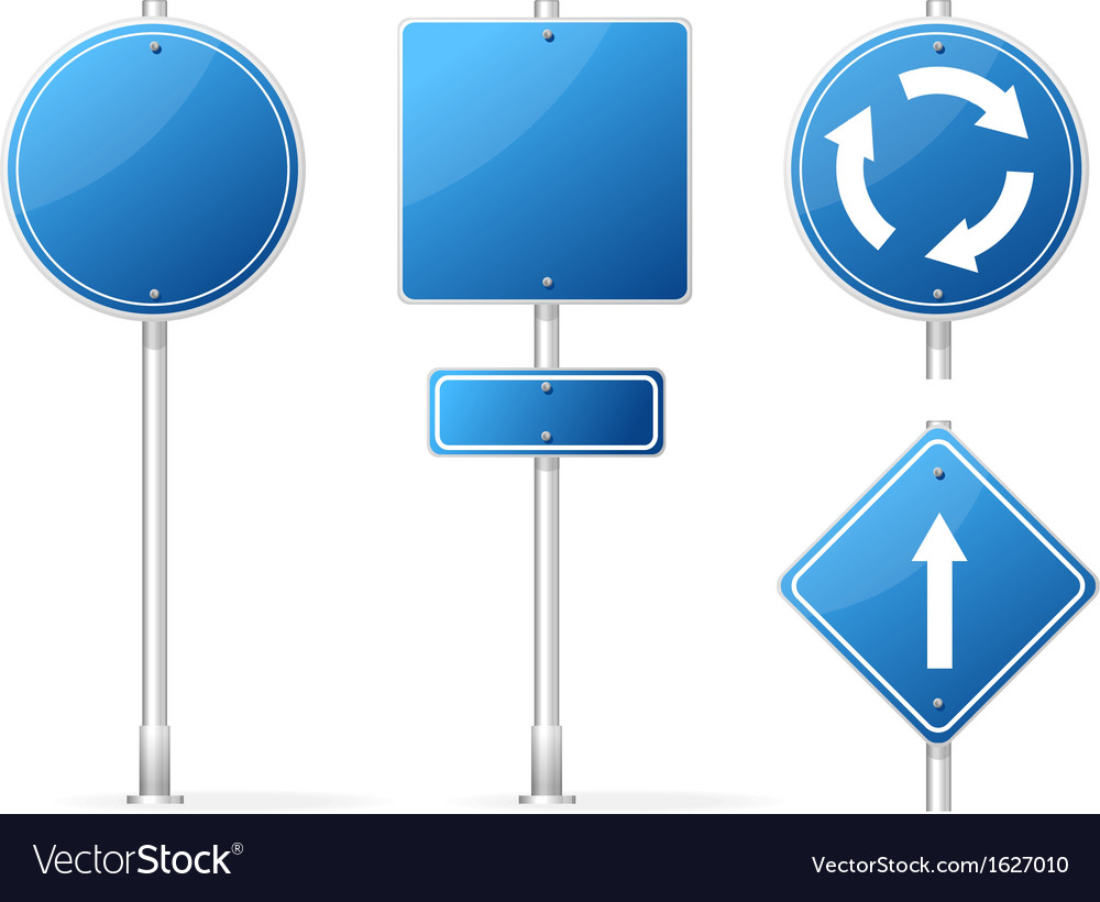 Blank Traffic Sign blue set