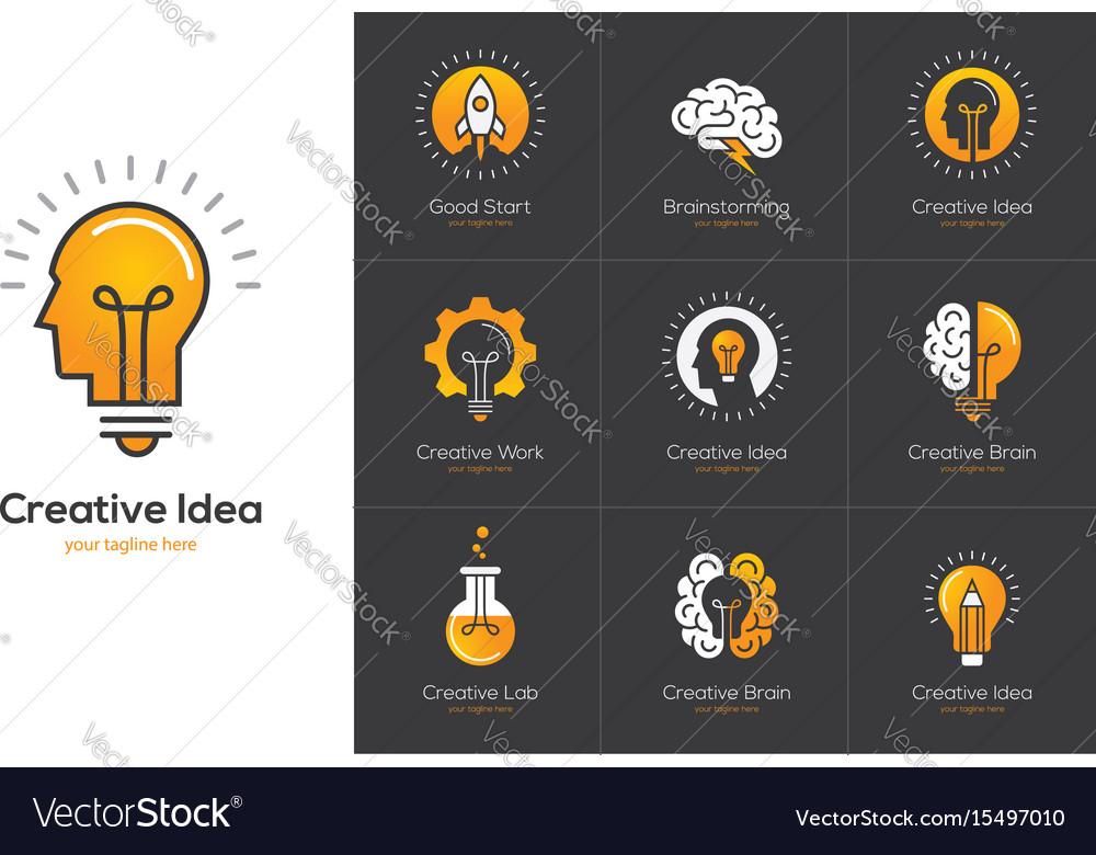 Creative idea logo set with human head brain