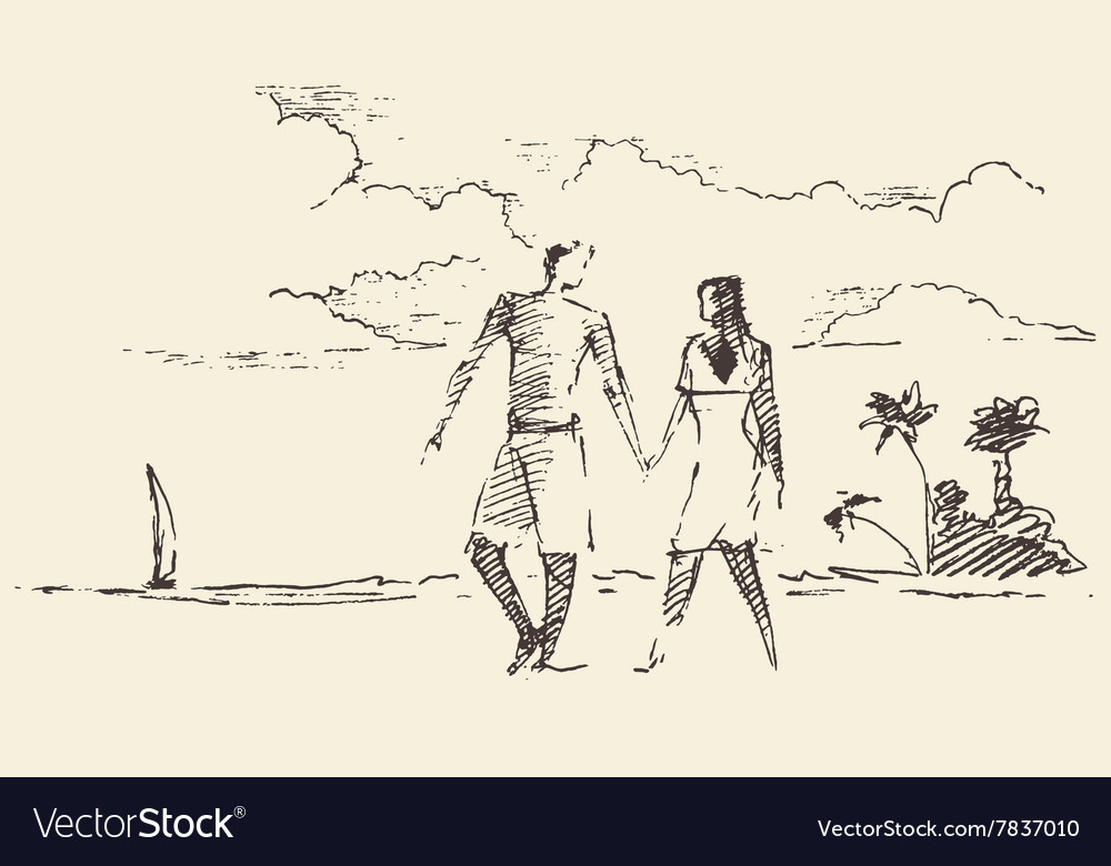 Draw two lovers vacation sea beach sketch