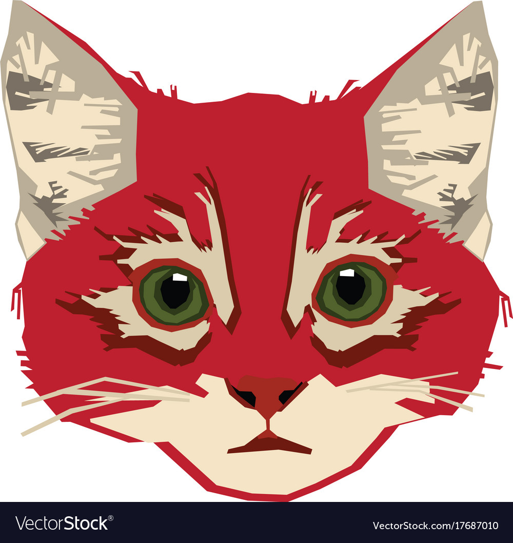 Head-red-cat vector image