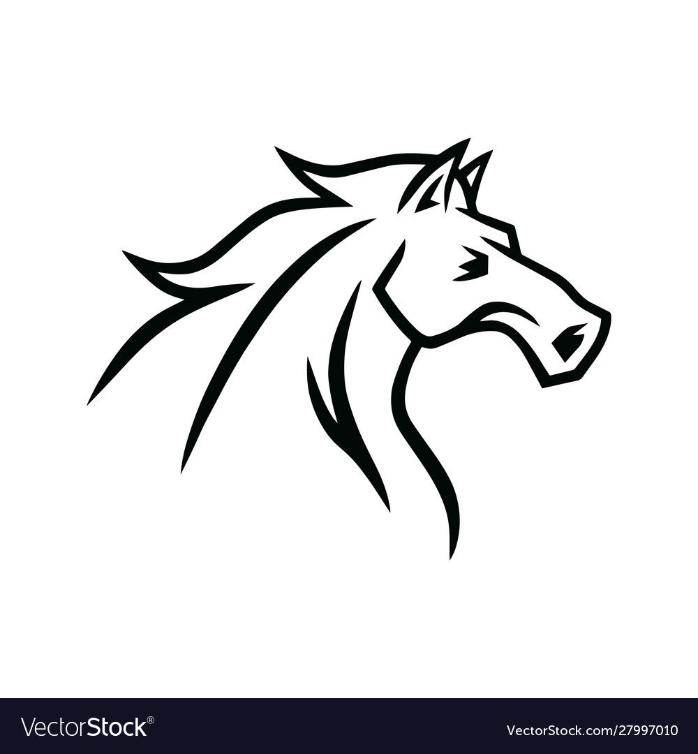 Horse Logo Mascot Line Stylized Drawing Royalty Free Vector