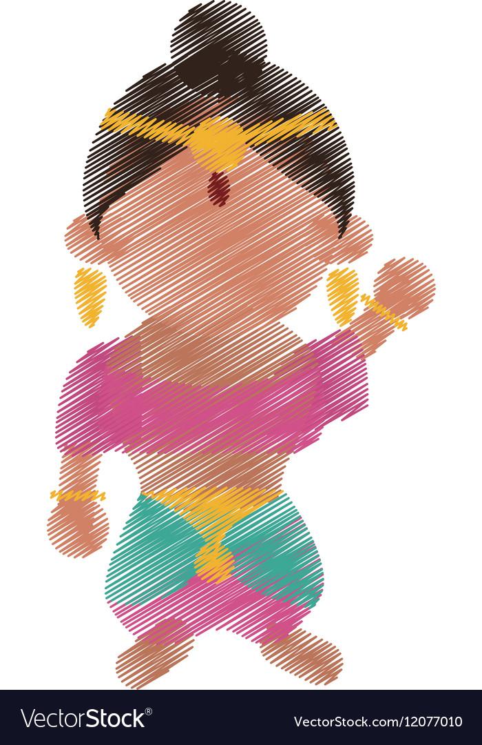 Indian woman dancing cartoon design