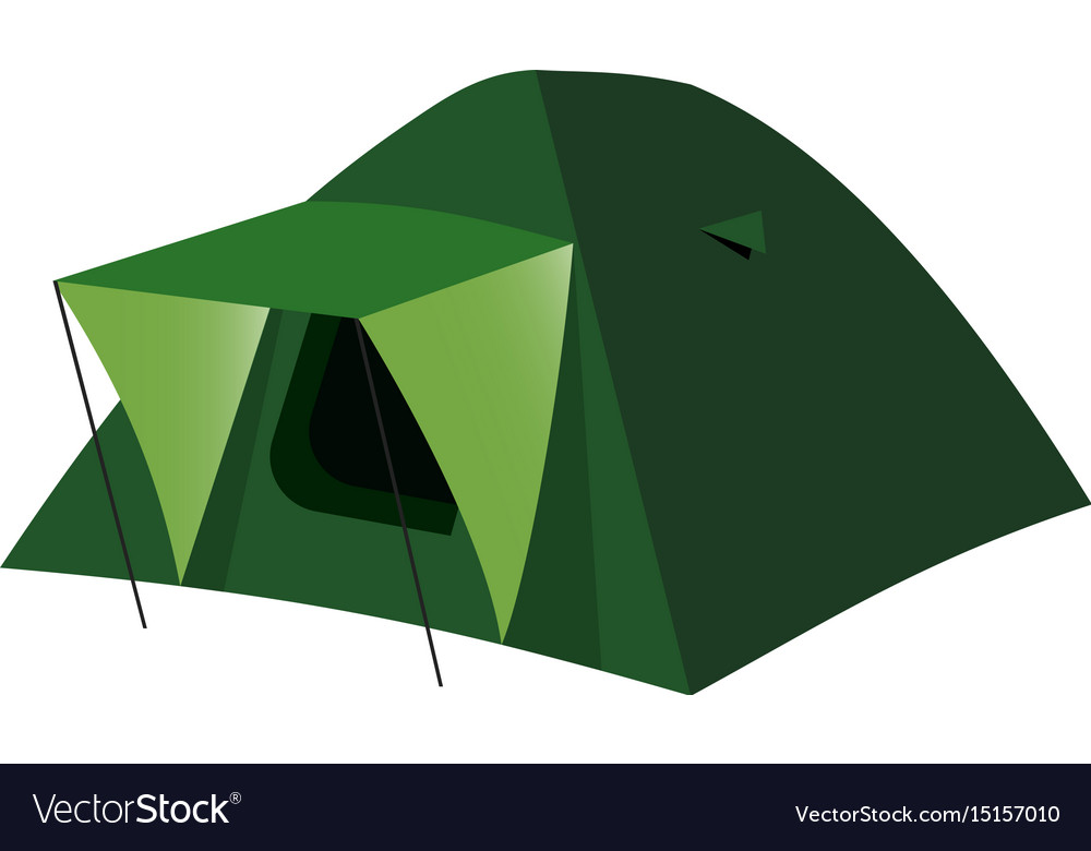 Isolated camping tent in flat
