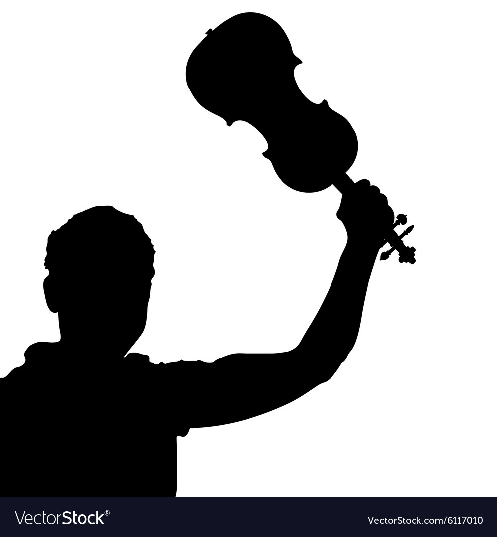 Man with violin silhouette vector image