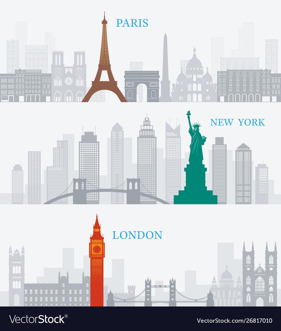 Paris new york london landmarks