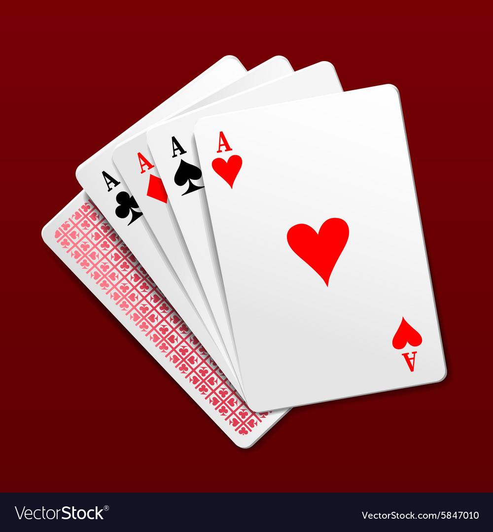 Photorealistic four aces playing cards