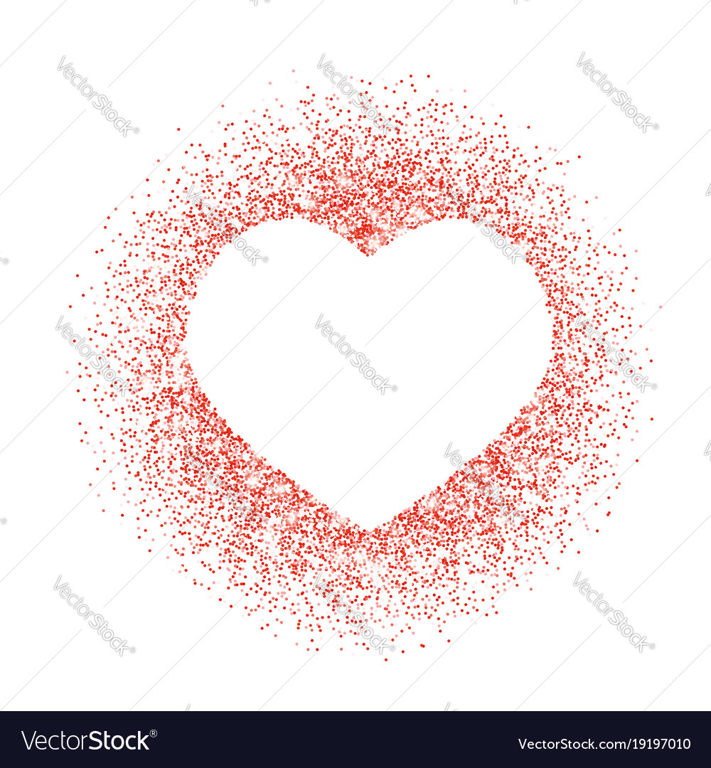 red glitter heart frame border dust royalty free vector