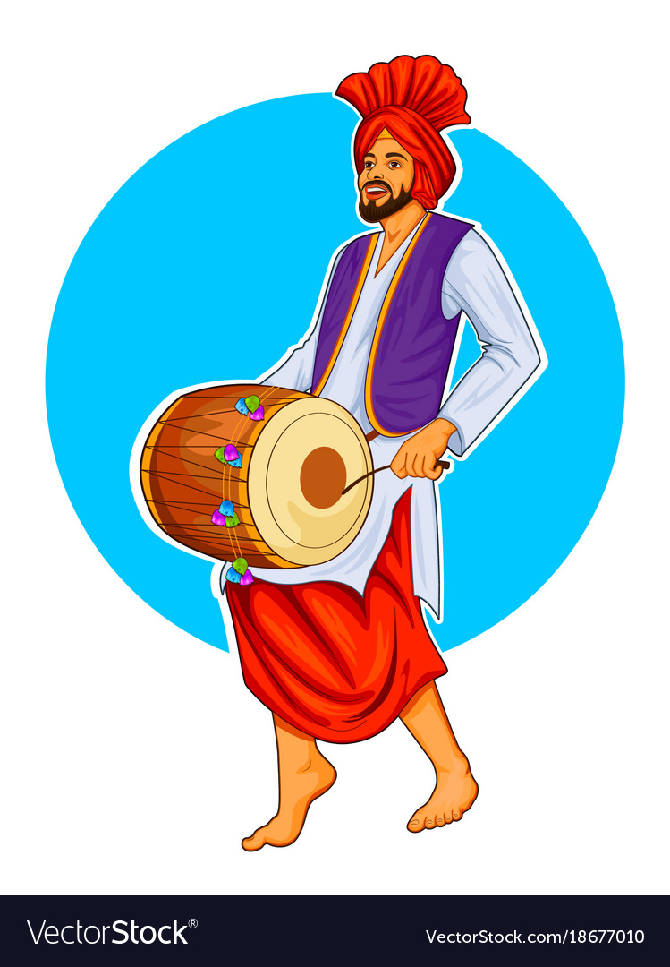 sikh punjabi sardar playing dhol and dancing vector image dance clip art borders dance clipart black and white