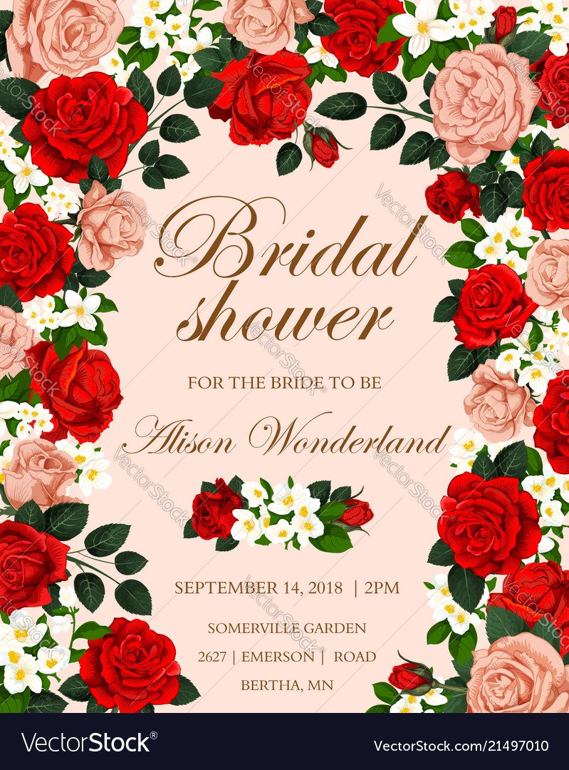 Wedding flower banner for bridal shower invitation
