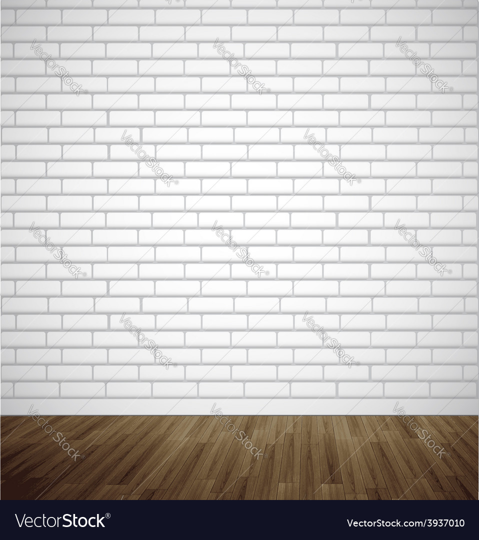 White Brick Room With Wooden Floor Vector Image